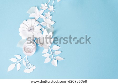 Scrapbook page with blue and white flowers Stock photo © Epitavi