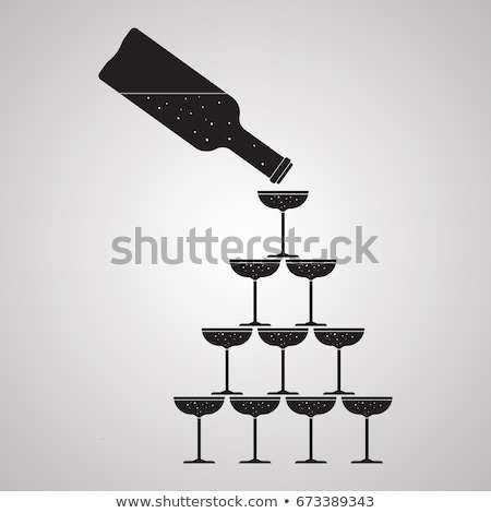 Glass of champagne tower. Alcohol in glass belfry. Wine pyramid. Stock photo © MaryValery