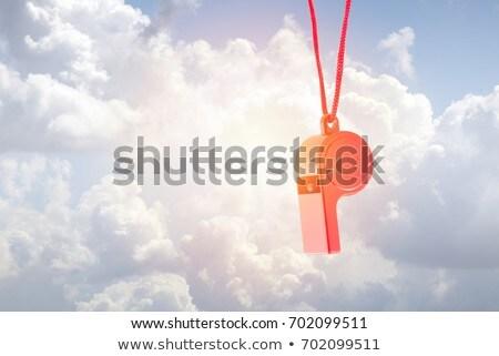 Vermelho plástico assobiar ensolarado blue sky nuvens Foto stock © sqback