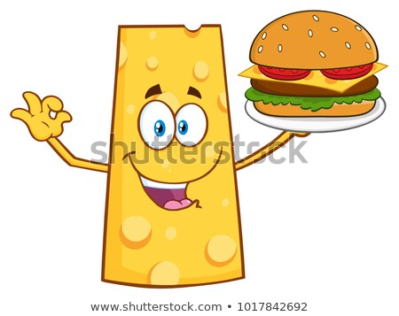 Cheese Cartoon Mascot Character Presenting A Perfect Burger Stock photo © hittoon