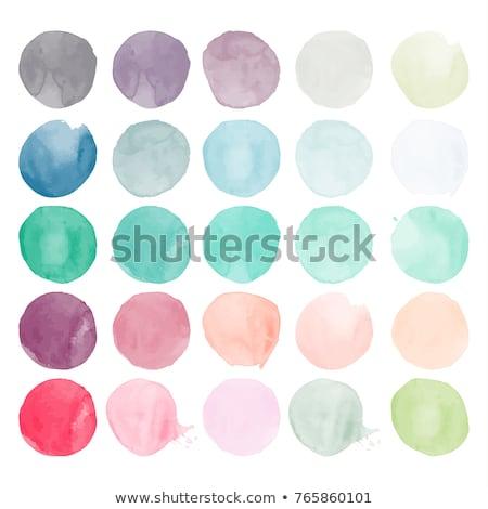 Vízfesték festett kör dekoráció szett üdvözlet Stock fotó © odina222