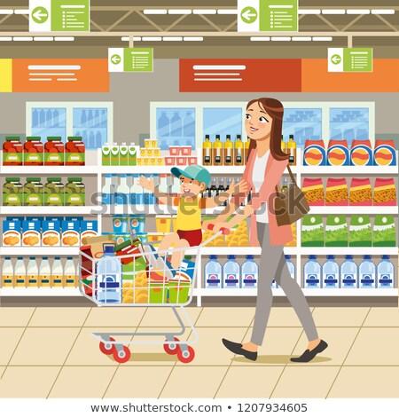 Stok fotoğraf: Kadın · itme · süpermarket · alışveriş · rüzgâr · alışveriş · çantası