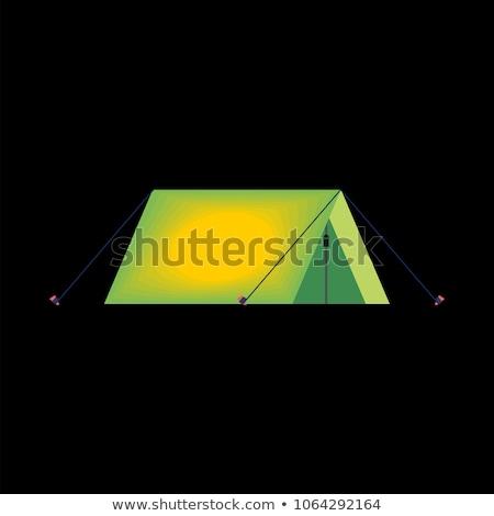 Namiot ciemne wewnątrz świetle odizolowany obozu Zdjęcia stock © popaukropa