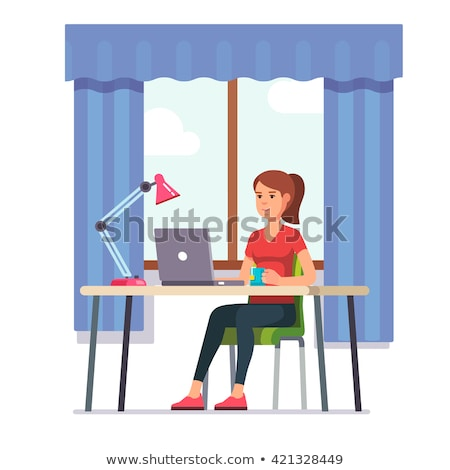 A young girl sits at a computer desk in the office and counts on a calculator. Before the girl there Stock photo © Traimak