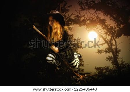 Enfant sorcière balai cartoon illustration fille Photo stock © cthoman