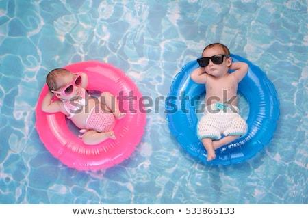 Aranyos baba fiú fürdik kicsi fürdőkád Stock fotó © Anna_Om