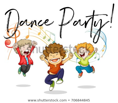 Three boys dancing with music notes in back Stock photo © colematt