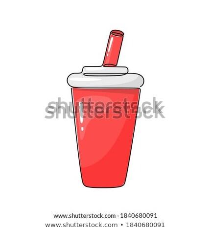 color sketch soda glass plastic stock photo © netkov1