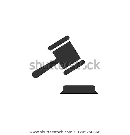 juge · marteau · icône · gris · succès · avocat - photo stock © angelp