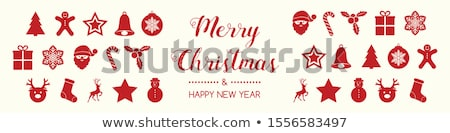 Gyönyörű karácsonyi üdvözlet koszorú kívánságok karácsony poszter Stock fotó © balasoiu