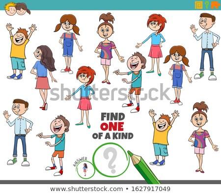 one of a kind task with cartoon kids and teens Stock photo © izakowski