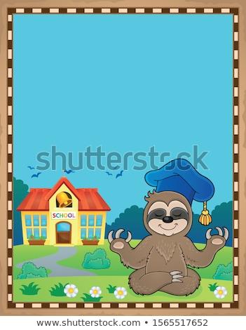 Nauczyciel pergamin papieru wiosną szkoły sztuki Zdjęcia stock © clairev