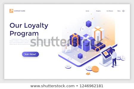 Kunden Loyalität Banner Rückkehr Marketing Geschenkbox Stock foto © -TAlex-