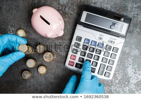Accountant In Gloves Calculating Piggybank Money Budget Stock photo © AndreyPopov