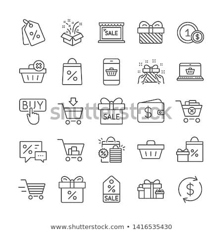 Online vásárlás kosár papírzacskó számítógép bolt táska Stock fotó © yupiramos