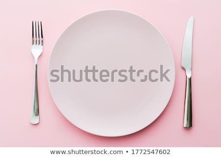 Lege plaat bestek ingesteld roze Stockfoto © Anneleven