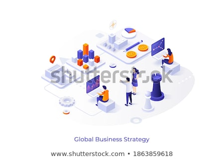Global business - modern colorful isometric web banner Stock photo © Decorwithme