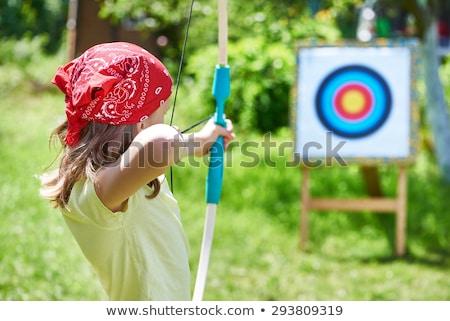 Kinderen boeg pijl meisje portret glimlachend Stockfoto © photography33