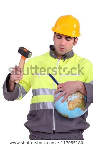 Homme marteau ciseler monde travaux outils Photo stock © photography33