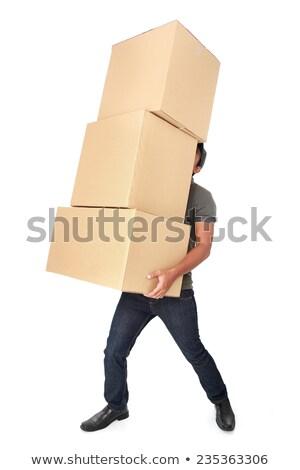 Férfi küszködik szállít köteg dobozok üzletember Stock fotó © photography33