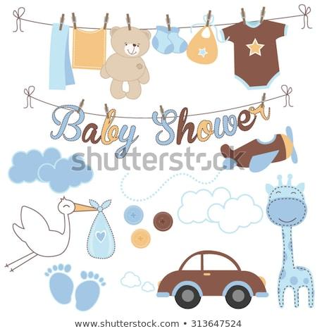 bebek · erkek · duş · kart · süt · şişe - stok fotoğraf © balasoiu