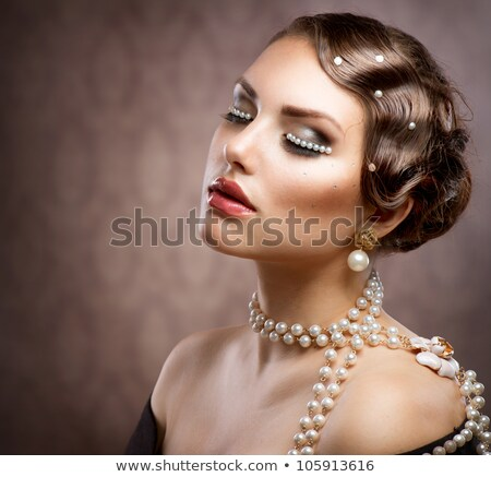 beauty model woman retro wavy hairstyle and make up black and stock photo © victoria_andreas