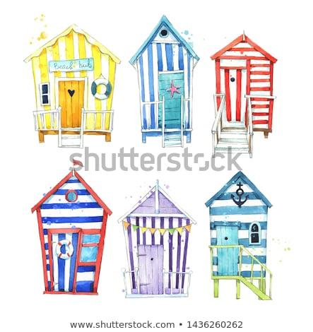 Colorato spiaggia fila Europa cabina Foto d'archivio © doupix