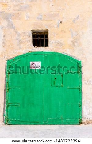 Stock photo: green wooden door