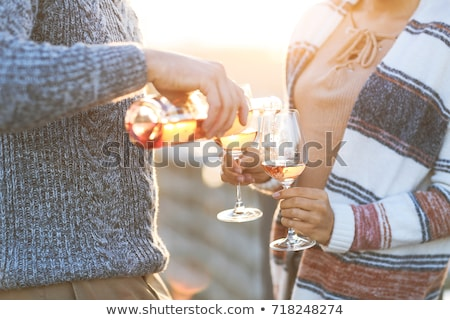 couple · potable · rose · vin · restaurant · sourire - photo stock © kzenon