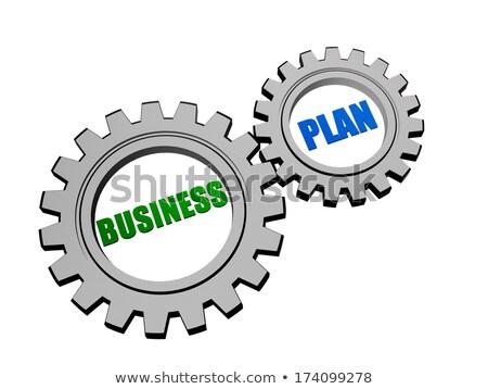 Stockfoto: Business · plan · zilver · grijs · versnellingen · tekst
