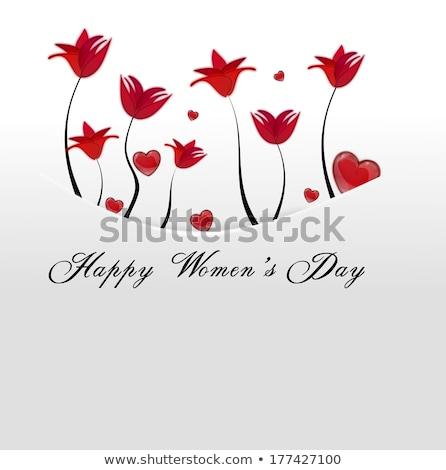 White Card Pocket With Red Flowers Tucked Away Stok fotoğraf © impresja26