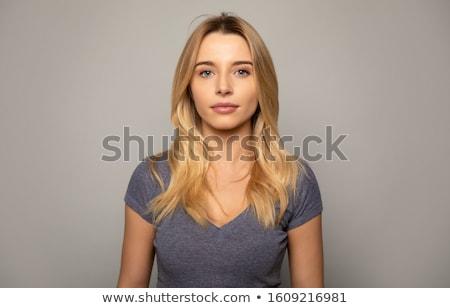 senhora · retrato · jovem · morena · cinza · mulher - foto stock © nejron