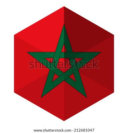 Marrocos bandeira hexágono ícone botão mundo Foto stock © gubh83