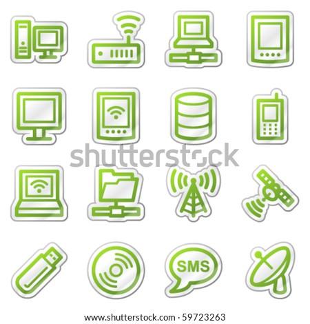 Parabolaantenna felirat zöld vektor ikon gomb Stock fotó © rizwanali3d