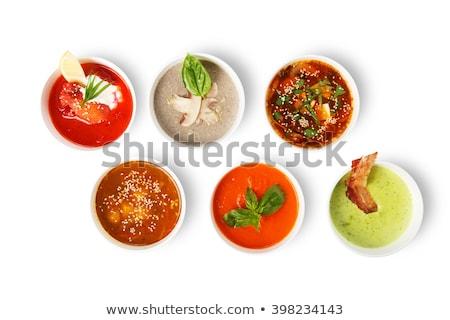 zupa · warzyw · mięsa · w · górę · odizolowany · biały - zdjęcia stock © fanfo