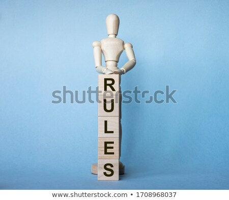 Regole bianco parola blu messa a fuoco selettiva rendering 3d Foto d'archivio © tashatuvango