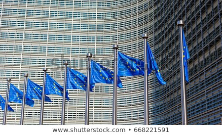 European flags in front of the EU commission headquarters in Brussels Stock photo © jorisvo
