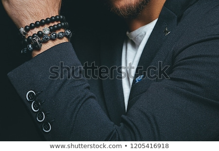 Bracelet verre pierres noir femme Photo stock © grafvision