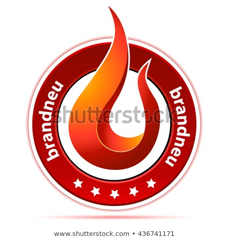 button with flame and text in german 'brand new' Stock photo © djdarkflower