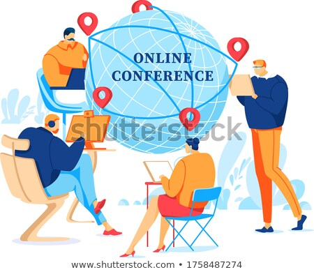 Content woman conducting online business Stock photo © ichiosea