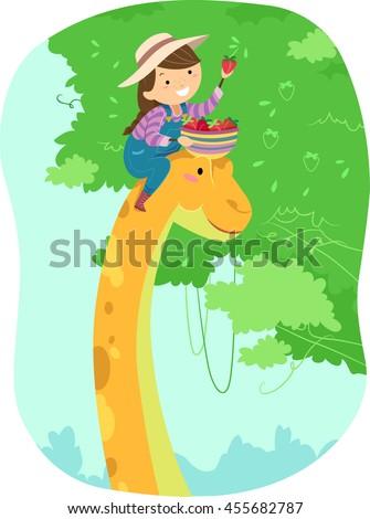 stickman kid girl pick fruits dinosaur stock photo © lenm