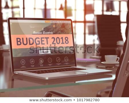 Költségvetés laptop képernyő 3D közelkép leszállás Stock fotó © tashatuvango