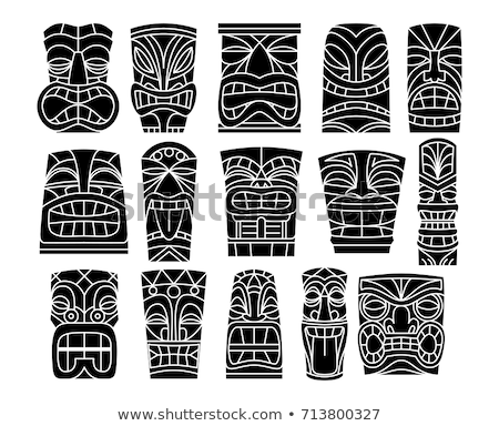 Polinésio tatuagem indígena arte vetor preto Foto stock © TRIKONA
