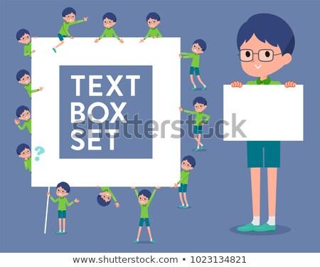 Stock photo: Green clothing glasses boy text box