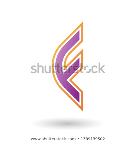 purple letter f icon with round corners and outer stripes stock photo © cidepix