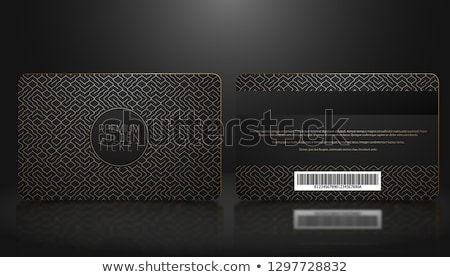 vector template of membership or loyalty black vip card with luxury golden geometric pattern stock photo © iaroslava