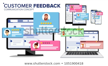 rating on customer service illustration website rating feedback and review concept flat vector ill stock photo © makyzz