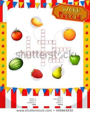 Meyve bulmaca şablon örnek meyve sanat Stok fotoğraf © bluering