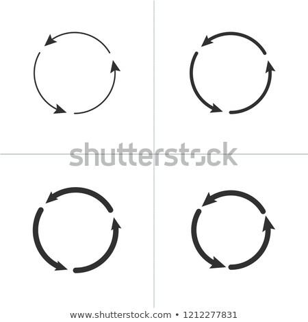 Three circle counter clockwise arrows black icon set . vector illustration isolated on white backgro Stock photo © kyryloff