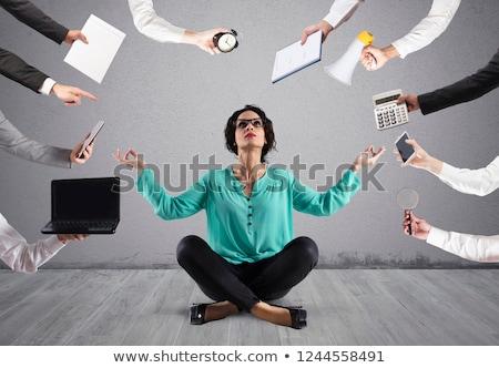 Zakenvrouw yoga stress wok positie Stockfoto © alphaspirit